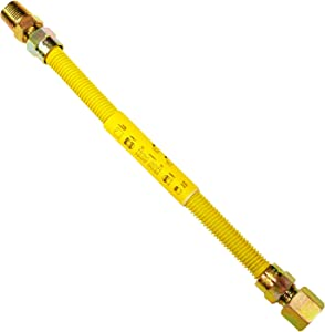 LASCO 10-1221 Flexible Coated Gas Water Heater Supply Line, 12-Inch, 1/2-Inch OD Connector with 1/2-Inch MIP X 1/2-Inch FIP Fittings