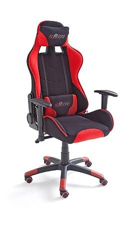 MC Racing 1 Silla de Gaming/Oficina/Escritorio con Asiento Deportivo, Poliéster, Negro y Rojo, 58x69x125 cm