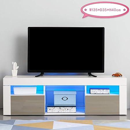 Tuff Concept Panana - Mueble de TV con luz LED y Puerta Frontal de 135 cm de Alto Brillo, Cuerpo Mate, RGB, Mueble de salón: Amazon.es: Hogar