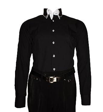 6c5487e57164 Pierre Martin Paris Herren Designer Hemd Langarm tailliert klassischer 2  Kragen 2 Knopf Slim Fit  Amazon.de  Bekleidung