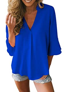 92d0cce70e2 ROSKIKI Women V Neck 3 4 Sleeve Loose Tops Elegant Chiffon Blouses Fashion  Casual Bell Sleeve