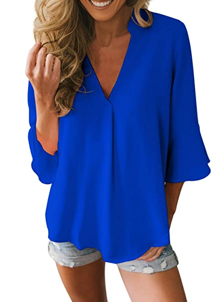 ae235c2404e696 FIYOTE Women Summer V Neck 3/4 Long Sleeve Chiffon Tops Casual Solid Blouse  Loose