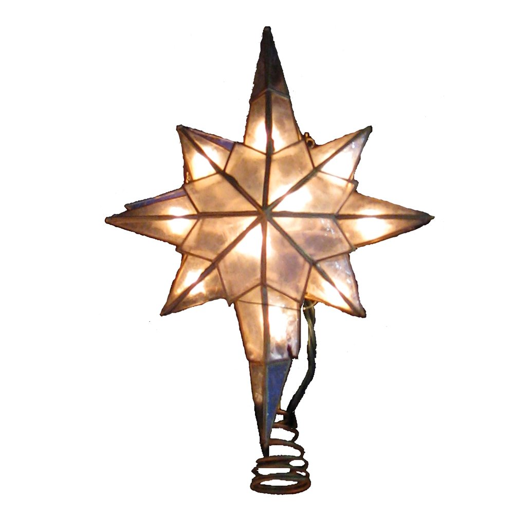 Kurt Adler 10-Light Capiz Star of Bethlehem Clear Treetop