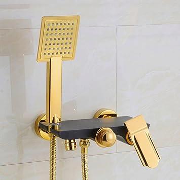 Bathae Goldplatte Messing Badewanne Handbrause Mit Shelf