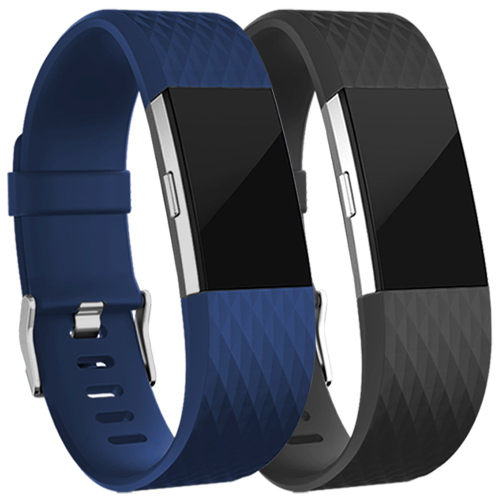 Geak Fitbit Charge 2バンド、Special Edition交換用バンドfor Fitbit charge2 Large Small 12異なる色 B077TWN592 Large Buy Navy blue Get Black Band for freeDiamond Design Buy Navy blue Get Black Band for freeDiamond Design Large