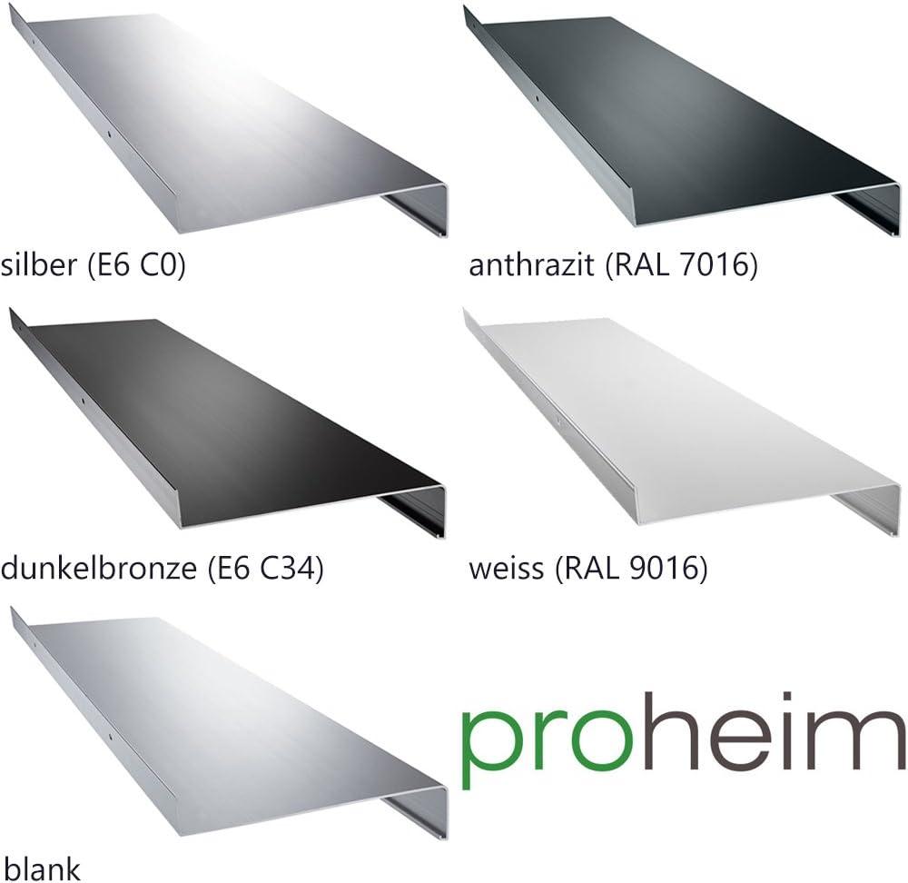 Aluminium Fensterbank Zuschnitt auf Ma/ß Fensterbrett Ausladung 195 mm wei/ß dunkelbronze anthrazit silber