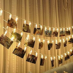 Photo clips string lights Battery Powered, 20 LED 10ft Warm white Lights for Bedroon Wedding Party Christmas Propose Indoor Home Decor Lights for Hanging Photos, Cards, Memos and Artwork, EIISON