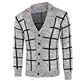Men's Jacket for Men Winter Warm Sweater Fashion Plaid Knit Buttons Cardigan Coat,Top Coat (L,Gray)
