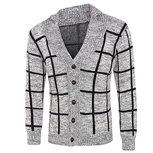 Men's Jacket for Men Winter Warm Sweater Fashion Plaid Knit Buttons Cardigan Coat,Top Coat (L,Gray) by Ennglun Jacket mens Coats