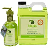 Cucina Hand Soap 200ml and 1 Liter Refill Set (Lime Zest and Cypress)