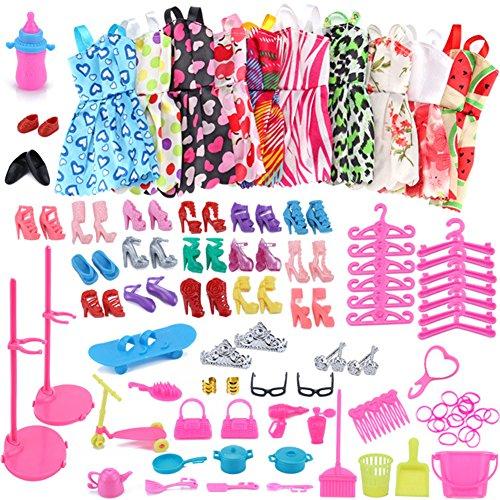 amyove muñeca Accesorios 10piezas moda en mezcla de vestido de estilo adornos zapatos accesorios para Barbie Doll mejor...