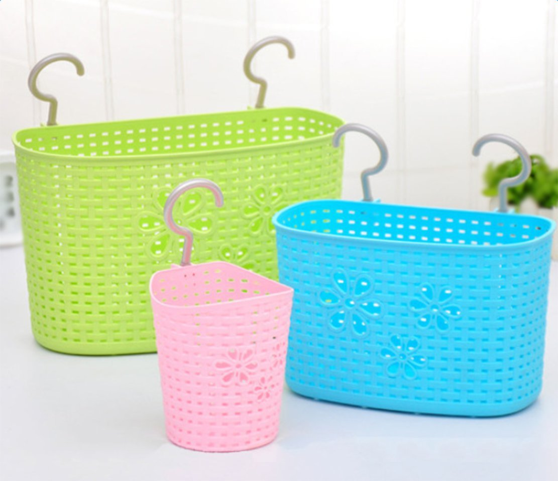 Amazon.com : Storage Basket Plastic, Freedi Bathroom Kitchen Hanging ...
