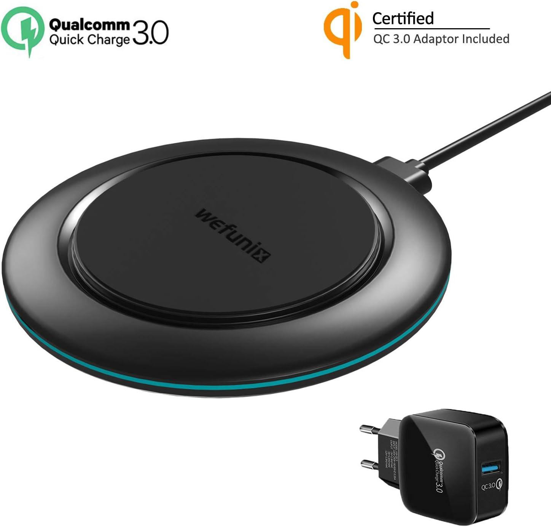 Wefunix Qi Cargador Inalámbrico Rápido Quick Charge 3.0 Carga Inalambrica USB C+Adaptador QC 3.0, 7.5W para iPhone 11 Pro XS Max XR X 8 plus Mi Mix 2S,10W para Samsung Galaxy S20 S10 S9 S8 Note 10/9/8