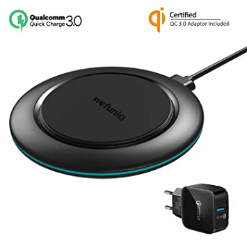 Wefunix Qi Cargador Inalámbrico Rápido Quick Charge 3.0 Carga Inalambrica [USB C]+Adaptador QC 3.0, 7.5W para iPhone XS Max XR X 8 plus Mi Mix 2S, 10W ...