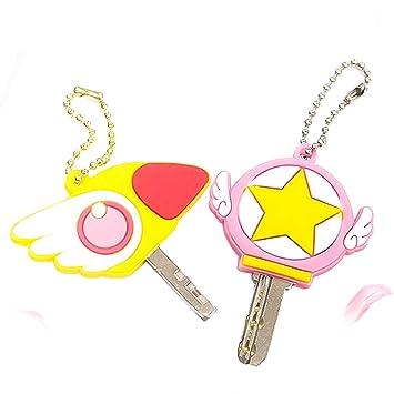 Mallalah Moda Lychee 2 unids animé Sakura Cardcaptor Llavero de Silicona Llavero Coaplay Llavero joyería para Hombres Mujeres