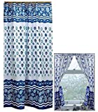 Home Fashions Ocean Blue Sea Shells Shower and Window Curtain Set