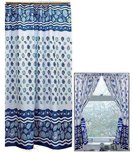 Home Fashions Ocean Blue Sea Shells Shower and Window Curtain Set by Home Fashions (Image #1)