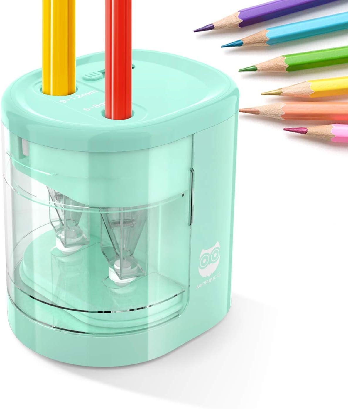 Rosa Batterie Betrieben Uong Elektrischer Anspitzer Schule Klassenzimme f/ür Zuhause B/üro 2 Ersatzmesser Automatischer Bleistiftanspitzer Elektrisch f/ür Kinder mit Zwei L/öchern
