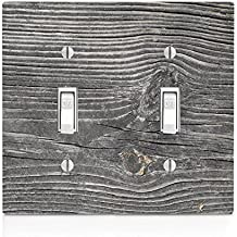 Wood with Texture on Wooden Old Vintage Background Pattern Double Light Switch Plate