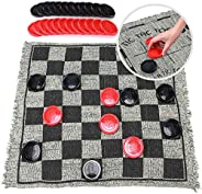 Super Tic Tac Toe and Giant Checkers Board Game for Kids and Adults, 1214 Inches 3 in 1 Reversible Rug with Ju