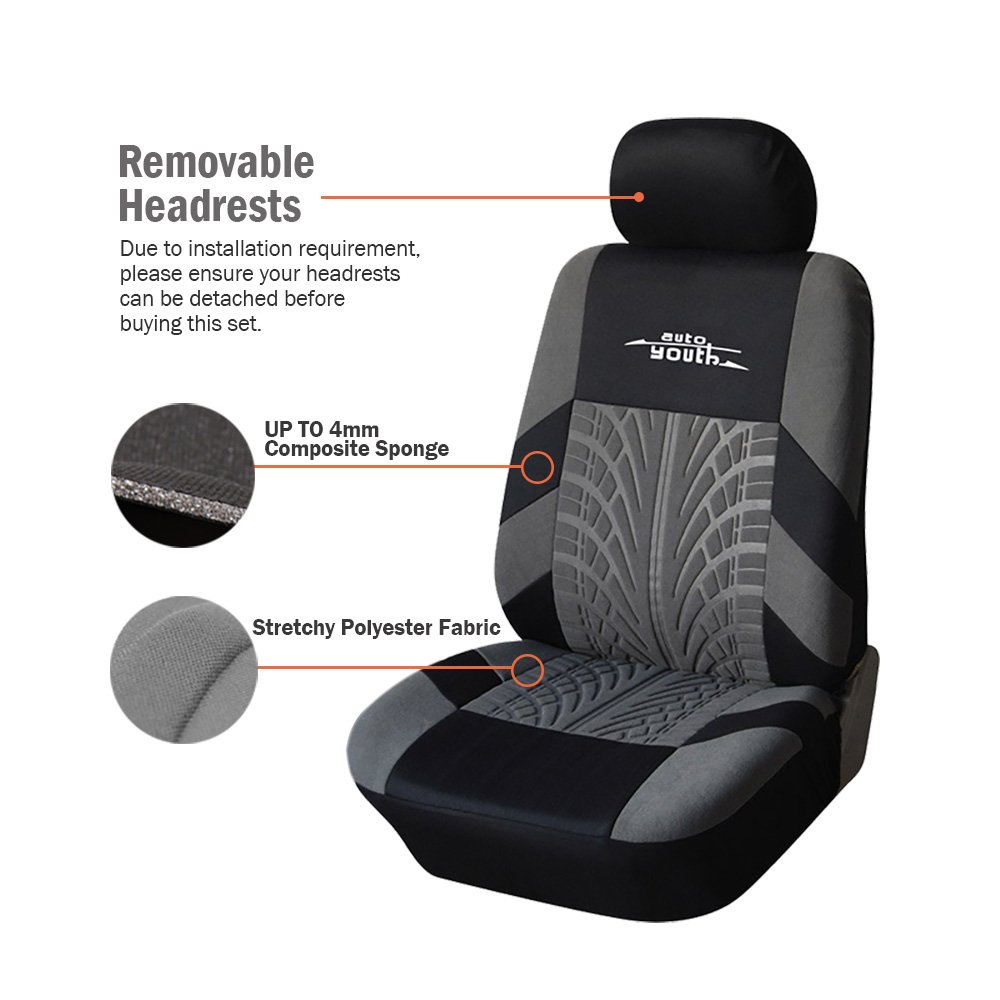 9PCS AUTOYOUTH Full Set Seat Covers for Cars Universal Fit Car Seat Protectors Tire Tracks Car Seat Accessories Black//Gray