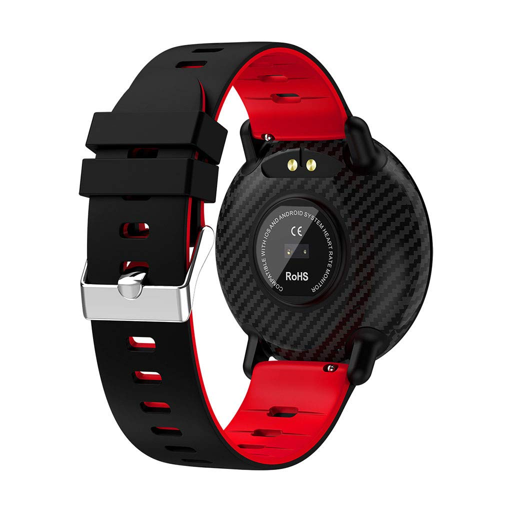 for Android iOS, Sport Smart Watch, Fitness Calorie Blood Pressure Heart Rate Monitor, Remote Photography Smart Bracelet (Red) by YNAA (Image #5)