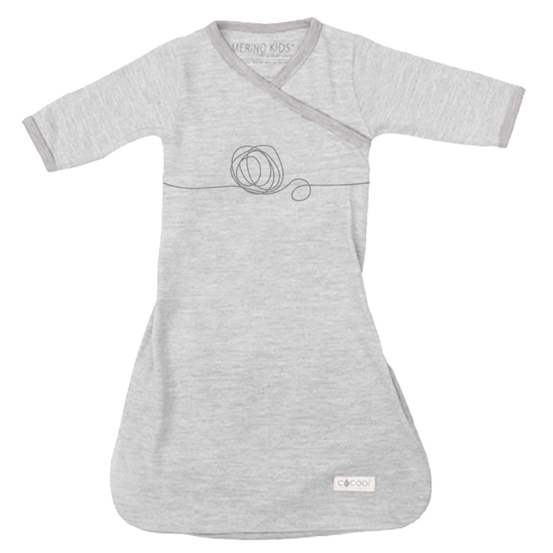 Cocooi Merino Baby Gown, Light Grey/Grey Print, for Newborn Babies COGWWBLGG000