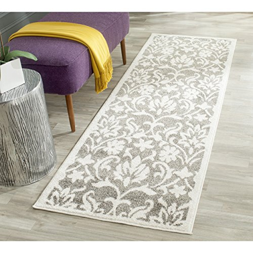 Safavieh Amherst Collection AMT424R Dark Grey and Beige Indoor/ Outdoor Runner (2