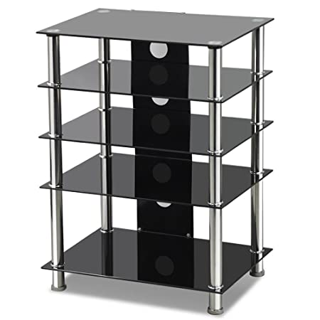 Popamazing Black Glass TV/Hifi Stand Stainless Steel Media Component Rack/ Cabinet/Shelf