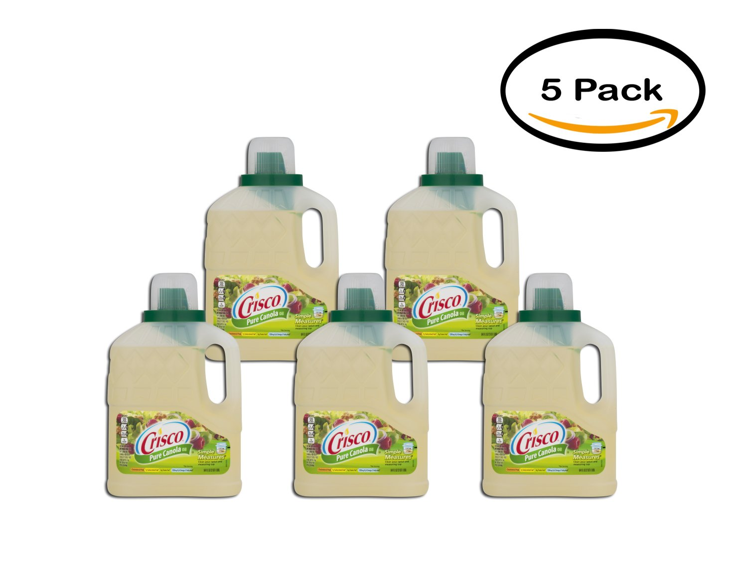 PACK OF 5 - Crisco Canola Pure All Natural Oil, 64 fl oz