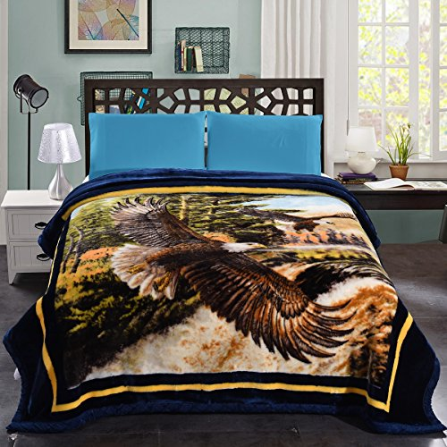 JML 10 Pounds Heavy Plush Soft Blankets for Winter, Korean Style Mink Velvet Fleece Blanket – 2 Ply A&B Printed Raschel Bed Blanket King Size 85