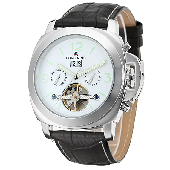 Forsining de los Hombres fantástico automático día Calendario Correa de Piel muñeca Reloj fsg005 m3s1: Amazon.es: Relojes