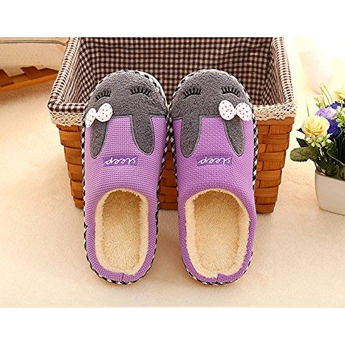 Doublure Pantoufles Chaussons Coton Intérieure Purple Accueil Hiver Saguaro Chaussures Mules Peluche Homme Femme Automne Slippers Douce nRYCqUwF