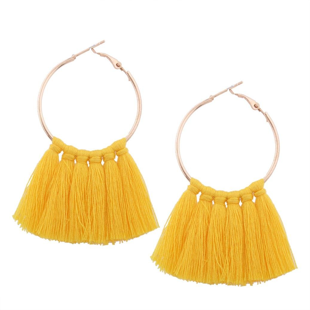 BSGSH Vintage Tribal Tassle Boho Hoop Dangle Earrings Ethnic Jewelry Earrings for Women Girls (Yellow)