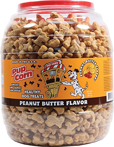 Cheap Pup Corn Peanut Butter Flavor Dog Treats Barrel, 30 Ounce Container