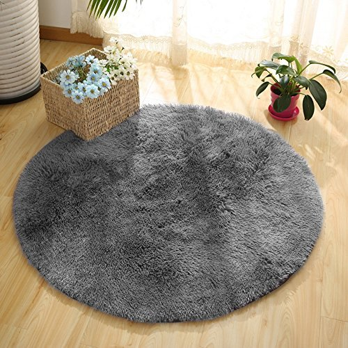 Super Soft Fluffy Nursery Rug from YOH Rugs for Bedroom Home Area Decor Round (4' Diameter,Grey) from YOH