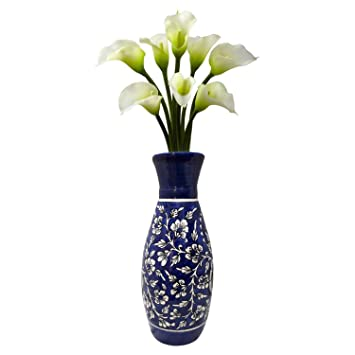 Buy India Meets India Flower Vase Ceramic Khurja Pottery Handmade Vases 12 Inch Blue Online At Low Prices In India Amazon In