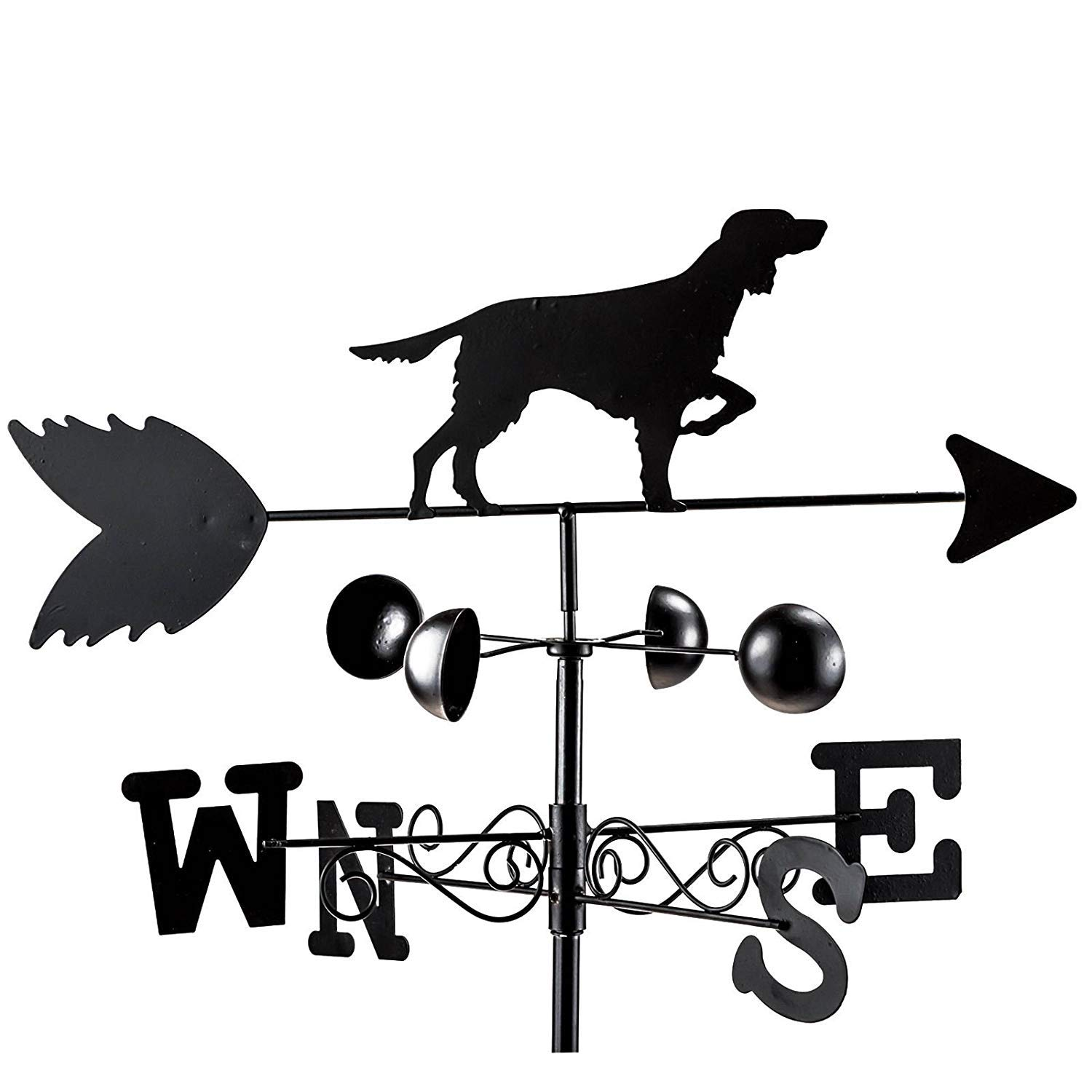 Black Metal Dog Wind Weathervane Weather Vane Garden Ornament Shoots & Roots