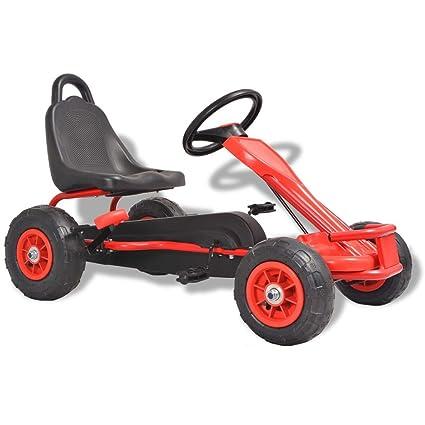 SENLUOWX - Pedal Go-Kart con ruedas neumáticas, color rojo: Amazon ...