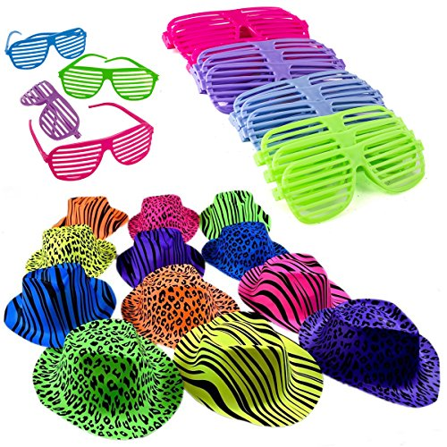 Neon Bright Party Set-12 Neon Gangster Hats with 12 Neon Shutter - And Glasses Hats