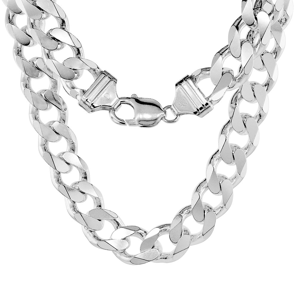 Sterling Silver Heavy Curb Chain Necklaces Bracelets Beveled Edges Nickel Free Italy Sabrina Silver
