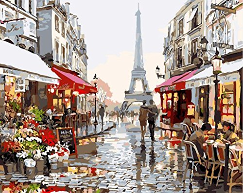 MailingArt Framed Paint By Number Kits Linen Canvas DIY Painting - Paris Street Street Framed Canvas