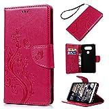 Badalink LG V20 Wallet Case (2016) 3D Vintage Embossed Butterflies Flowers PU Leather Flip Stand Case Shockproof TPU Inner Bumper Slim-Fit Protective Card Slots Hand Strap Cover for LG V20 - Hot Pink