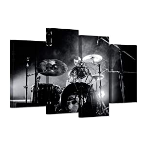 Hello Artwork - Music Series 4 Piece Wall Artwork Rock Band Shelf Drum Set With Lights In Black And White Background Modern Home Decor for Living Room Bedroom