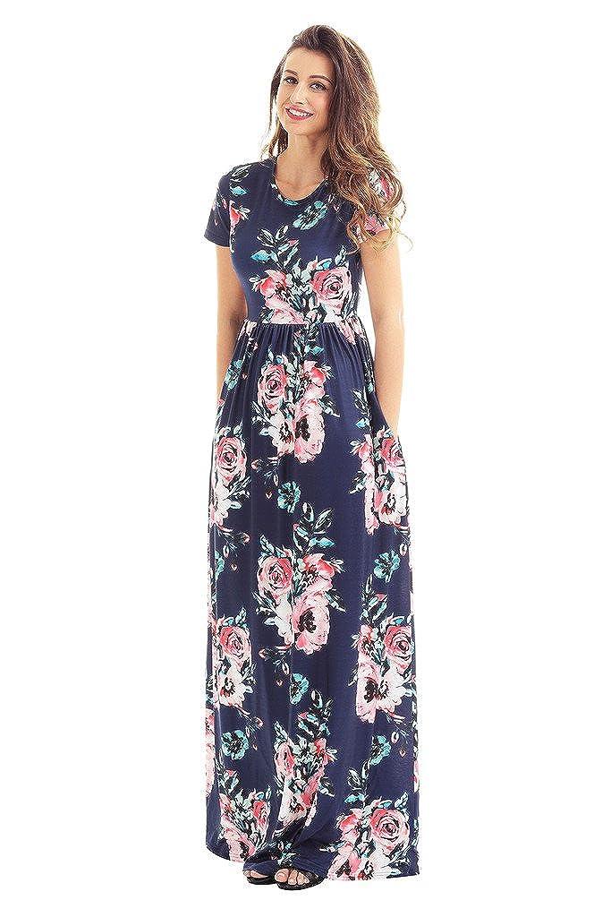 dd199ec100f0 HOTAPEI Women's Floral Print Long Dress Short Sleeve Empire Flower Maxi  Dresses at Amazon Women's Clothing store: