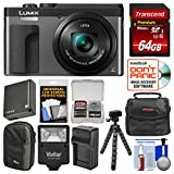 Cheap Panasonic Lumix DC-ZS70 4K Wi-Fi Digital Camera (Silver) with 64GB Card + Case + Flash + Battery + Charger + Tripod + Cleaning Kit
