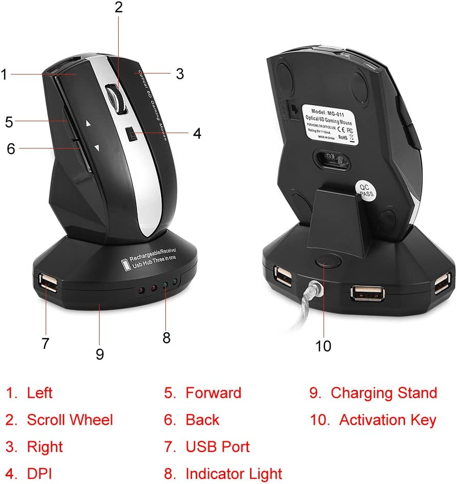 Black 2.4GHz Rechargeable Mice Optical PC Computer Laptop Gaming Mouse with Charging Dock Stand 3-Port USB Hub fosa Wireless Mouse
