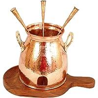 Indian Art Villa Handmade Copper Table Tandoor with Wooden Bottom (8-inch Width)