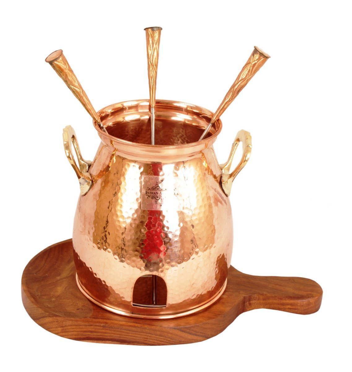IndainArtVilla Handmade Copper Table Tandoor With Wooden Bottom, Best for Hotel & Restaurant, 8'' Inch Width