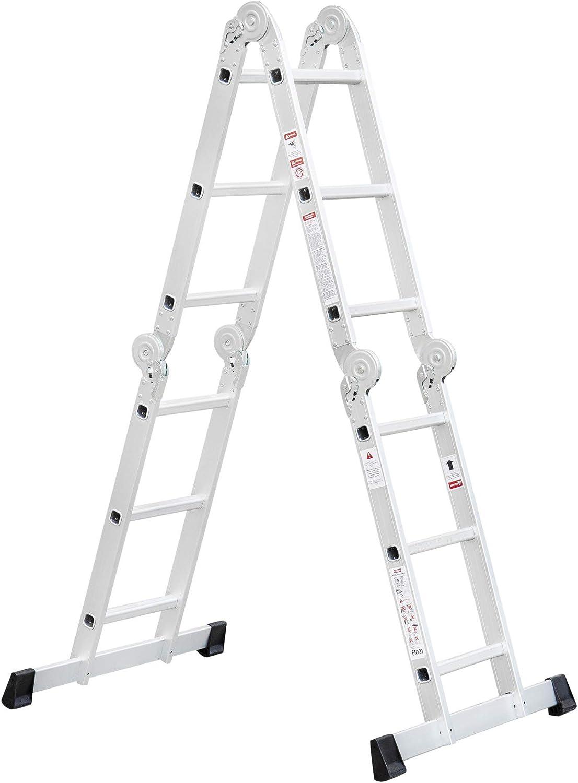 Toro multiusos Escalera de aluminio | tragfähigkeiten 150 kg, 4 x 3 peldaños, 6 tipos de montaje variantes | máxima flexibilidad | Escalera | Escalera | Escalera: Amazon.es: Bricolaje y herramientas